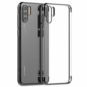 Electroplated TPU Protection Cell Phone Cover for Huawei P30 Pro - Black