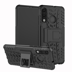 For Huawei P30 Lite Cool Tyre Kickstand PC + TPU Hybrid Protection Case Cover - Black
