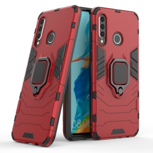 Finger Ring Kickstand PC + TPU Hybrid Mobile Phone Case for Huawei P30 Lite - Red