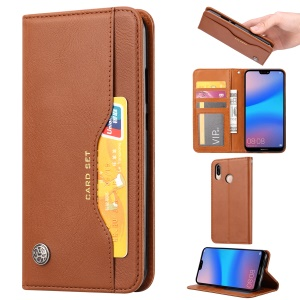 Auto-absorbed PU Leather Protection Phone Casing for Huawei Y6 (2019) - Brown