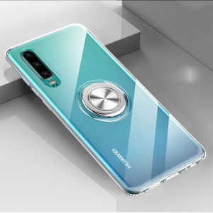 For Huawei P30 Finger Ring Kickstand Clear TPU Soft Phone Casing (Built-in Magnetic Metal Sheet) - Transparent