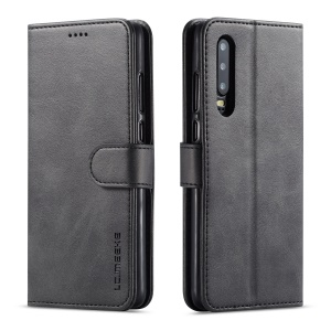 LC.IMEEKE Leather Wallet Stand Case for Huawei P30 - Black