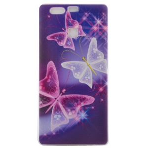 Printed Pattern Slim TPU Case for Huawei P9 - Translucent Butterflies