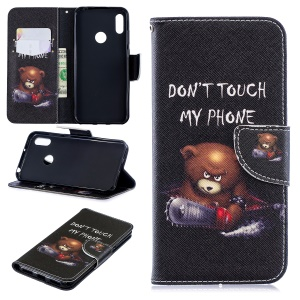Pattern Printing PU Leather Flip Stand Shell for Huawei Y6 (2019, with Fingerprint Sensor) / Y6 Prime (2019) - Bear And Its Warnings