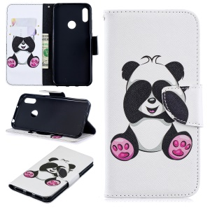Pattern Printing PU Leather Wallet Mobile Phone Cover for Y6 (2019)/Y6 Pro (2019)/Y6 Prime (2019) - Adorable Panda