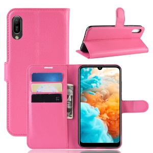 Litchi Texture Wallet Stand Leather Mobile Casing for Huawei Y6 Pro (2019) - Rose