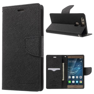 MERCURY GOOSPERY Leather Wallet Cover for Huawei P9 - Black