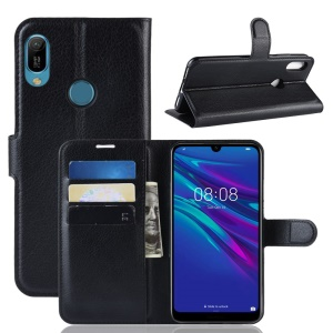 Litchi Texture Wallet Stand Leather Protector Cover for Huawei Y6 (2019, with Fingerprint Sensor) / Y6 Prime (2019) - Black