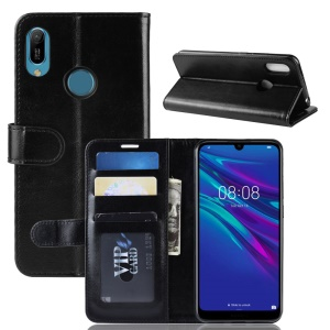 Crazy Horse Wallet Stand Leather Phone Cover for Huawei Y6 (2019) - Black