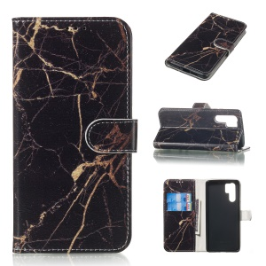 Patterned Leather Wallet Stand Case for Huawei P30 Pro - Black Marble