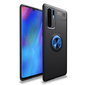 LENUO Metal Ring Kickstand TPU Case for Huawei P30 Pro Built-in Magnetic Metal Sheet - Black / Blue