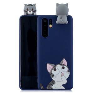 Pattern Printing TPU Gel Protection Shell for Huawei P30 Pro with 3D Animal Doll - Cat