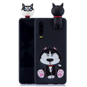 Pattern Printing TPU Gel Protective Case for Huawei P30 with 3D Animal Doll - Dog