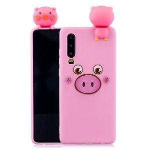 Pattern Printing TPU Gel Protective Case for Huawei P30 with 3D Animal Doll - Pig