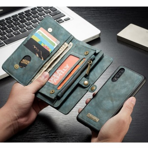 CASEME 008 Series Multi-functional 2-in-1 Zipper Wallet Split Leather Case for Huawei P30 - Blue