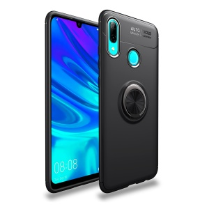 LENUO Metal Ring Bracket TPU Cover for Huawei P Smart (2019) Built-in Magnetic Metal Sheet - All Black