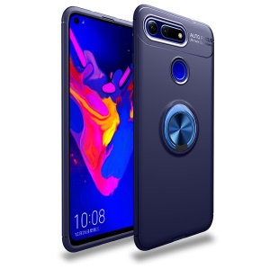 LENUO Metal Ring Kickstand TPU Case for Huawei Honor View 20/V20 Built-in Magnetic Metal Sheet - Blue