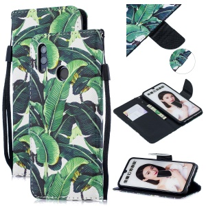 Patterned Leather Stand Protective Cover with Strap for Huawei Honor 10 Lite / P Smart (2019) - Banana Tree