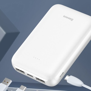 BASEUS Mini Jan 10000 Mah Dual USB Power Bank Con Micro Ingressi Usb / Type-c - Bianca