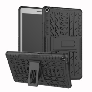For Huawei MediaPad T3 8.0 Tyre Pattern PC + TPU Hybrid Phone Case with Kickstand - Black