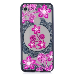 Lace Embossed Rhinestone Flower PC TPU Combo Mobile Phone Case for Huawei Honor 8A - Pink Flower