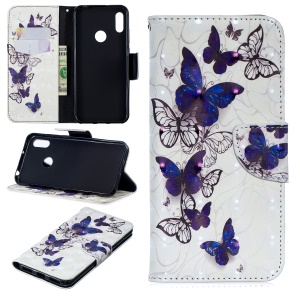Pattern Printing Light Spot Decor Leather Wallet Case for Huawei Y6 (2019, with Fingerprint Sensor) / Y6 Prime (2019) - Beautiful Butterfly
