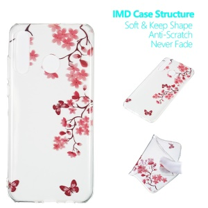 Pattern Printing IMD TPU Phone Case for Huawei P30 Lite/nova 4e - Flower and Butterfly