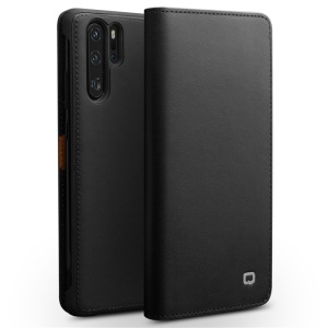 QIALINO Top Cowhide Leather Cover Phone Case for Huawei P30 Pro - Black