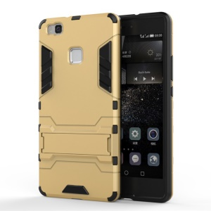 For Huawei P9 Lite Cool Kickstand PC + TPU Protector Case Cover - Gold