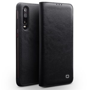 QIALINO Classic Genuine Leather Case with Card Slot for Huawei P30 - Black
