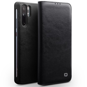 QIALINO Classic Genuine Leather Card Holder Case for Huawei P30 Pro - Black