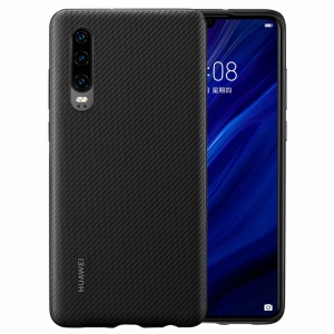 For Huawei P30 [Carbon Fiber Texture] PU Leather Phone Back Case - Black