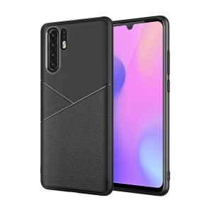 Litchi Grain TPU Protection Back Case Cover for Huawei P30 Pro - Black