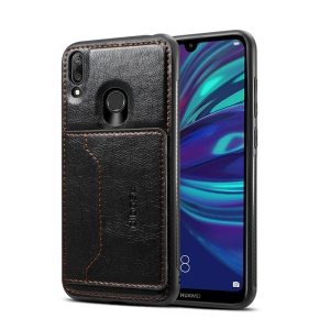 Crazy Horse Texture Leather Coated TPU Card Holder Kickstand Phone Case for Huawei Y7 (2019)/Y7 Prime (2019) - Black