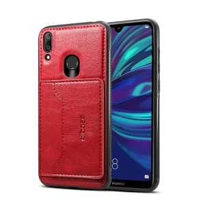 Crazy Horse Texture Leather Coated TPU Card Holder Kickstand Phone Case for Huawei Y7 (2019)/Y7 Prime (2019) - Red