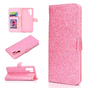 Flash Powder Leather Wallet Case for Huawei P30 Pro - Pink