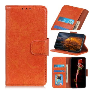 Nappa Texture Split Leather Magnetic Stand Case Cover with Wallet for Huawei Honor 8S - Orange