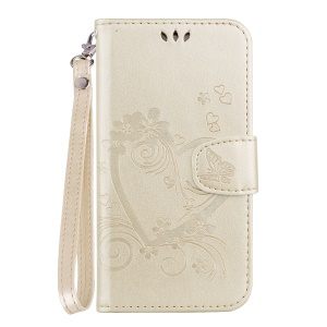Imprint Heart Flower Leather Stand Phone Case for Huawei P30 Lite / nova 4e - Gold