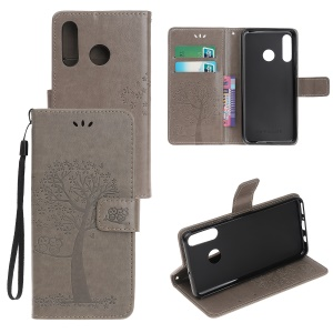 Imprint Tree Owl Leather Wallet Case for Huawei P Smart Plus 2019 / Enjoy 9s/ Maimang 8 / nova 4 lite / Honor 10i - Grey