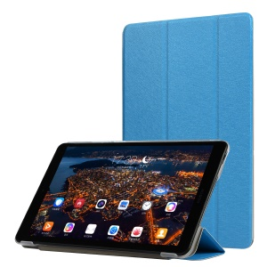 Silk Texture PU Leather Tri-fold Stand Tablet Cover Case for Huawei Honor Pad 5 8.0-inch - Baby Blue
