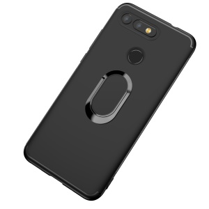 Matte TPU Mobile Shell with Magnetic Finger Ring Kickstand for Huawei Honor View 20/V20 - Black