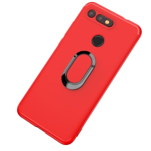 Matte TPU Mobile Shell with Magnetic Finger Ring Kickstand for Huawei Honor View 20/V20 - Red