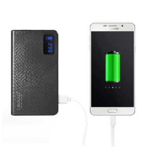LEYOU LE-212 12000mah Dual USB Power Bank Battery Charger for iPhone iPod Samsung HTC LG Sony - Black