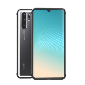 Shadow Series Tempered Glass + Metal Frame + TPU Hybrid Case for Huawei P30 Pro - Silver