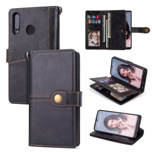Retro Style PU Leather Wallet Phone Case for Huawei P30 Lite/nova 4e - Black