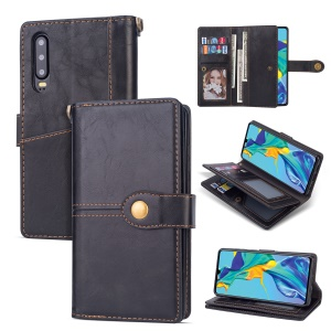 Retro Metal Buckle Wallet Stand Leather Case with Multi Card Slots for Huawei P30 - Black