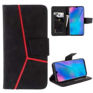 Business Splicing Wallet Stand Leather Cover for Huawei Enjoy 9s/ Maimang 8 / P Smart Plus 2019 / nova 4 lite / Honor 10i - Black