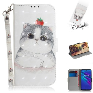 Pattern Printing Light Spot Decor Leather Protection Shell for Huawei Y6 (2019, with Fingerprint Sensor) / Y6 Prime (2019) - Cat Holding a Tomato