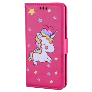 Flash Powder Unicorn Pattern Wallet Stand Leather Case for Huawei P30 Lite / nova 4e - Rose