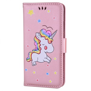 Flash Powder Decor Imprint Unicorn Leather Mobile Cover for Huawei P30 - Pink